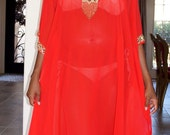 Red and Gold Embellished Sheer Caftan