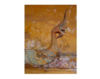 Naga Statue, Photo, Laos, Travel Photography, Asia, Ethnic Home Decor, Large Wall Art, Mythical Creature, Fine Art Print, Gold, Mustard