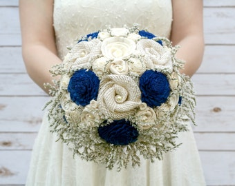 Royal Blue Bridal Bouquet // Royal Blue, Wedding Bouquet, Bride's, Sola Flower, Burlap Bouquet, Dried Flowers, Alternative, Cobalt Bouquet