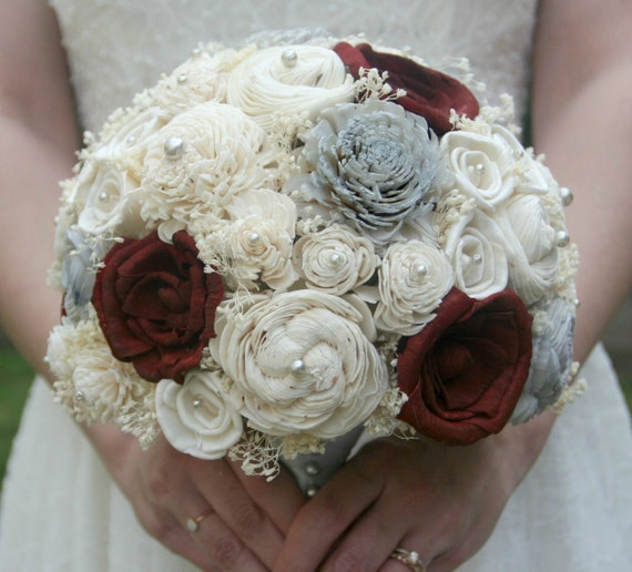 Maroon Wedding Flowers Wedding Bouquet Maroon Grey Sola Flowers Winter Holiday