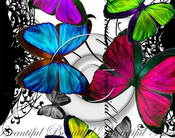 Colorful Butterfly Digital Collage Art Print Digital Download