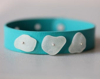 Sea Glass Leather Cuff Bracelet w/ Sterling Silver Accents