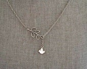 Antiqued Silver Olive Branch & White Dove Necklace