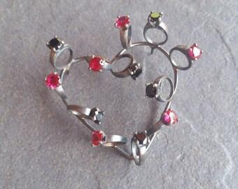 solitario / boda/engagement ring /wedding/love/heart/ green /red / black/corazón /pin/ broche / silver