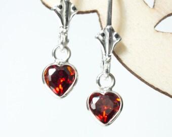 CZ Heart Earrings Leverback , Kids' Leverback Earrings , Heart earrings for girls , Sterling Silver Earrings , Girl's Birthday Gift