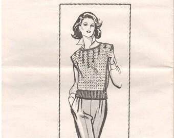 1980s - Design 7256 Vintage Crochet Pattern Vest Sleeveless