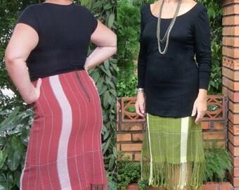 Womens Boho Skirt In Handwoven Ethnic Karen Cotton With Fringe Hemline - Annika