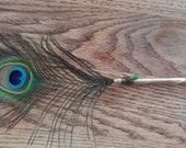 Peacock Feather Pen, All Seeing Eye, 13 x 7 inches,Spell Writer,Wedding Sign In, Shower Gift, Centerpiece,Desk Acessory,Cruelity Free