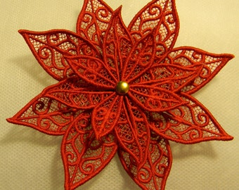 Lace poinsettia, bright red,machine embroidered