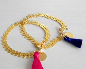 Gold Fishbone Tassel Gold Charm Bracelet