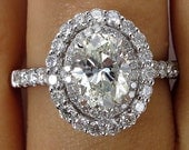 GIA 2.02ct Estate Vintage Classic OVAL Cut Diamond Halo Engagement Ring in 18k White Gold