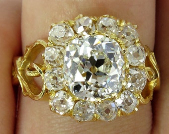 Reserved..Revived Rococo...Victorian, England 1870s 3.54CT Antique Vintage Old Mine Diamond Cluster Engagement Ring