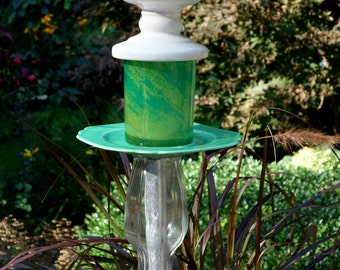Garden and yard totem art with recycled glassware on etsy for Recycled glass garden ornaments