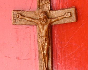 50s Handcrafted Crucifix Cross Brown Composite 3 1/2 Inches for Repurpose