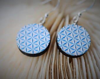 WOOD Dangle Earring - EMBOSSED Geometry Blue Repetitive Triangle ~ 16 mm - Women / Elegant / Modern