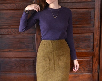 50's Ochre Wool Pencil Skirt / Golden Leaves Skirt / Bernhard Altmann