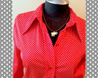 Vintage 70s Red White Polka Dot Blouse size small