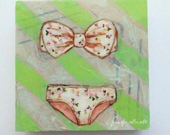 "Bathing suit bikini painting summer wall art - ""Palm Beach"""