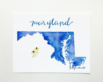 Maryland state art print watercolor hand lettering home decor