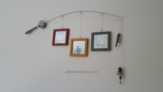 Fishing Pole Picture Frame - Silver or Brown Pole - 3 - 5 in x 5 in Picture Frames - Heritage Brick, Antique Gold, Gray