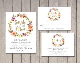 Floral Wreath Wedding Invitation, RSVP, Insert Card (Printable) by Vintage Sweet