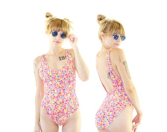 Neon 90s Floral Backless One Piece, High-Cut One Piece, 90s Beach, Women's Size Medium/Large