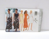 Sundress Cropped Jacket 1990s Butterick 4999 Sewing Pattern Sleeveless Dress Maxi Mini uncut Size 18 20 22 Color block bodice Free US Ship