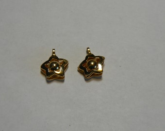 2 Vintage Gold Star with Moving Metal Ball 1970s or 1980s Disco Charms Pendants (J-16-531)