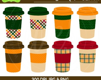 SALE  Fall Drink Cups Digital Clipart Set - Coffee Clip Art - Tea Clipart - To Go Cups Clipart - Commercial Use