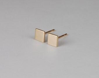 Square Gold Earrings Modern Studs Gold Minimalist Earrings Solid Gold Earrings Square Gold Studs