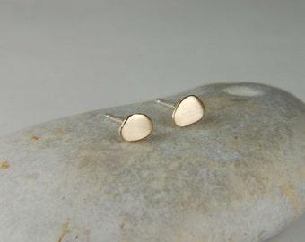 Gold Nugget Earrings Rustic Gold Earrings Modern Studs Gold Minimal Earrings Handmade Gold Stud Earrings Gold Nugget Jewelry