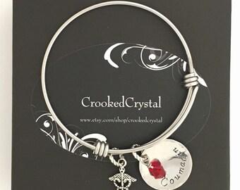 Medical ID Bracelet - Personalized Charm Bracelet - Adjustable Bangle - Custom - Stainless Steel - Medical Alert - Charm Bracelet