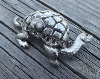 Vintage Metal Turtle Brooch / Tortoise  / Re-purpose / assemblage / altered art / supply / mixed media / up-cycle / found object