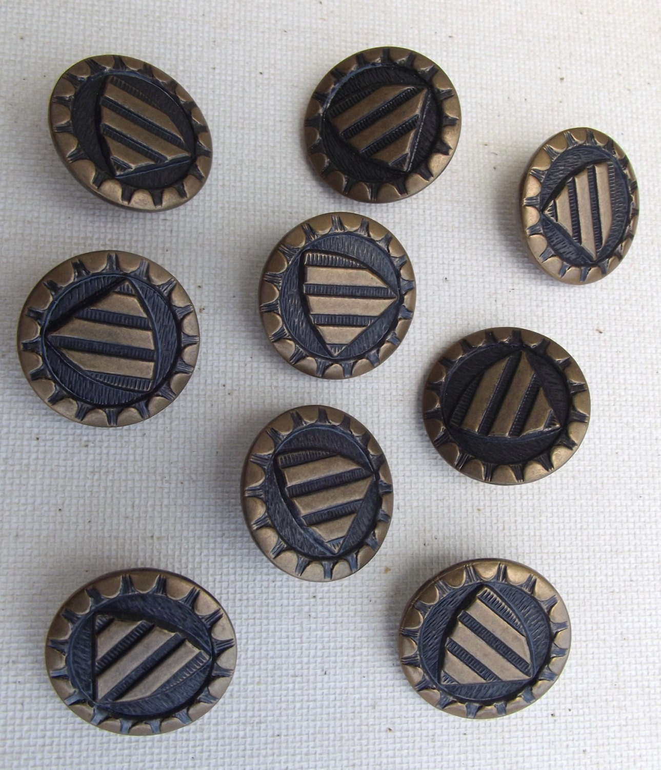 9 vintage gold and black buttons shield dressmaking for Metal art craft supplies