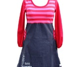 A bit naughty_ womens jersey/denim dress with pockets_red/pink