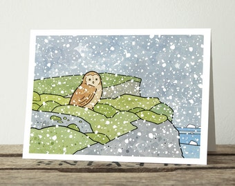 Iceland Owl Christmas Card - Winter Snow Holiday Card