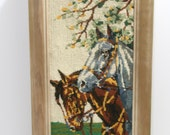 Vintage Needlepoint Crewel Framed Horses in Pasture Wall Hanging Embroidered framed artwork Green Gray Grey Brown Off White Yellow wood fame