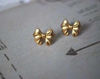 Gold Bow Earrings -- Gold Bows, Gold Brass, Tiny Bow Earrings