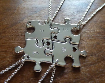 Four Best Friend Puzzle Pendant Necklaces