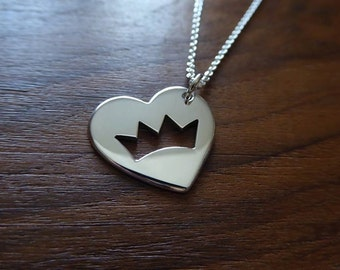 Silver Heart with Crown Necklace Pendant