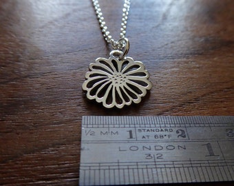 Silver Handmade Flower Pendant Necklace