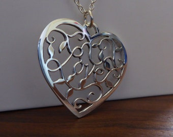 Silver Handmade Love Heart Pendant Necklace