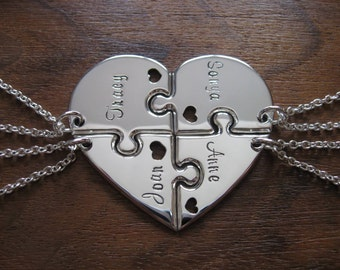 Four Piece Heart with Names, Best Friend Pendant Necklaces with Hearts