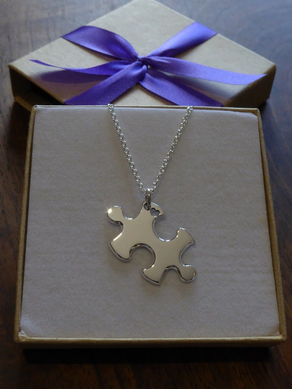 Puzzle Heart Silver Pendant Necklace