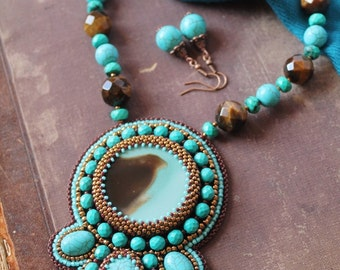 Turquoise Beadwork Necklace Beaded Agate Pendant Necklace Bead Embroidery pendant Embroidered Necklace Ethnic Tribal Jewelry