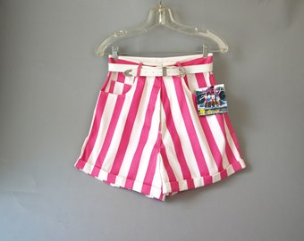 Vintage 90s pink striped bonjour high waist shorts size s or m with original tags
