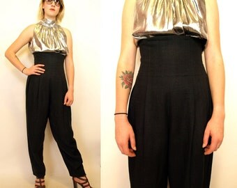Ultra high waist black raw silk 80s 90s women's trousers size S or M