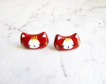 Red Mitten - Silver Plated Stud Earrings Cat Polymer Clay Acrylic Hand Painted Customized Necklace Bracelet