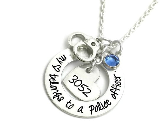 My Heart Belongs To A Police Officer Firefighter Cop Hero Marine Coastie Soldier Custom Necklace - Engraved Jewelry