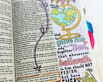 Bible Journaling Bible Verse Art Bible Verse Print great for faith journals Art Journal God so loved the world John 3:16